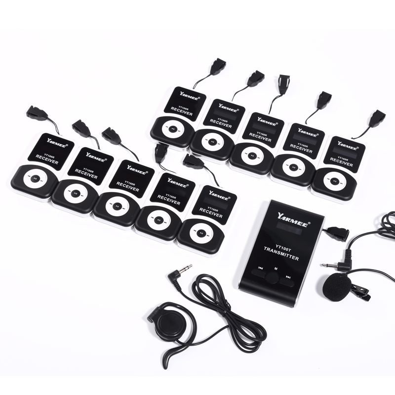 Wireless Tour Guide Translation System with Earpiece Earphone For Portable Professional Radio Tour guide System YARMEE (2T/30R)