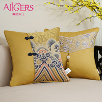 Avigers Luxury Jacquard Stitching Cushion Cover Tassel Pillowcase Gold Gray Cloud Modern Home Decorative Sofa Seat Throw Pillow