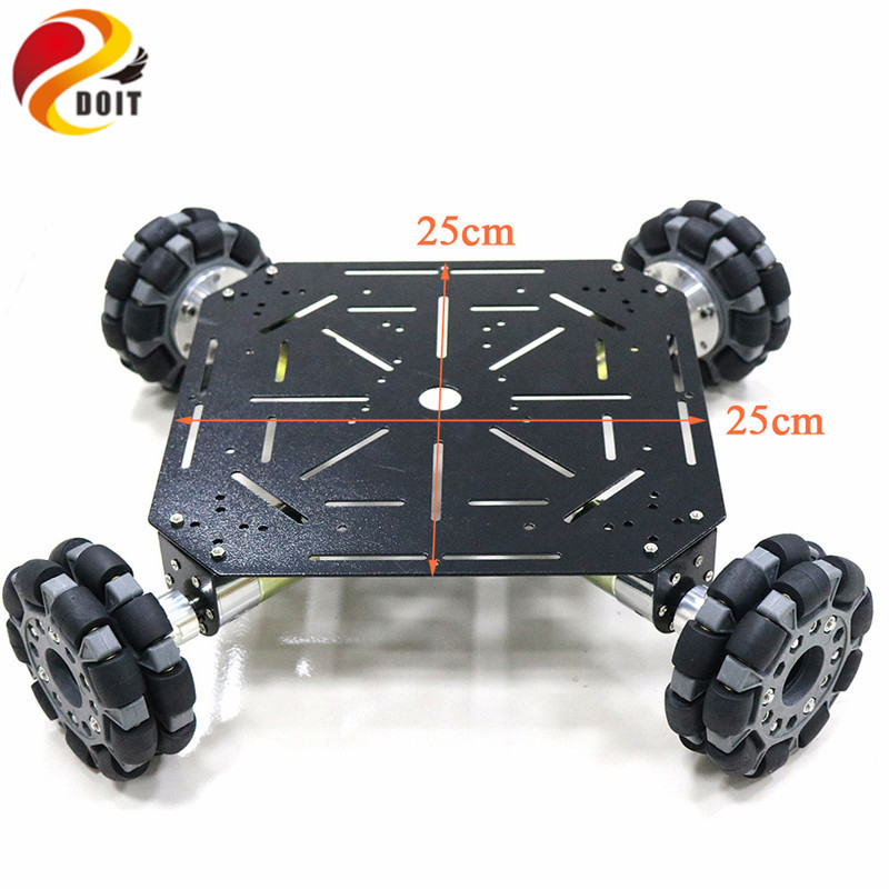 4WD Omni Wheels Robot Car Chassis Stain Steel Frame with 4pcs DC Big Power 12V motor for DIY Toy Car Owi Robot Competition