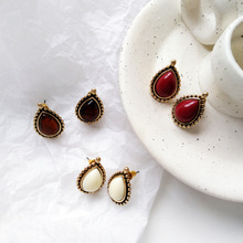 Classic Woman Jewelry Red Black White Water Drop Stud And Clip Earrings For Gift