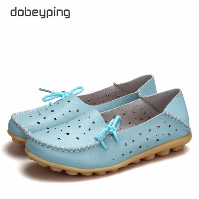 Summer Women's Casual Shoes Soft Real Leather Woman Flats Slip On Femal Loafers Lady Boat Footwear Large Size 35-44 In 14 Colors