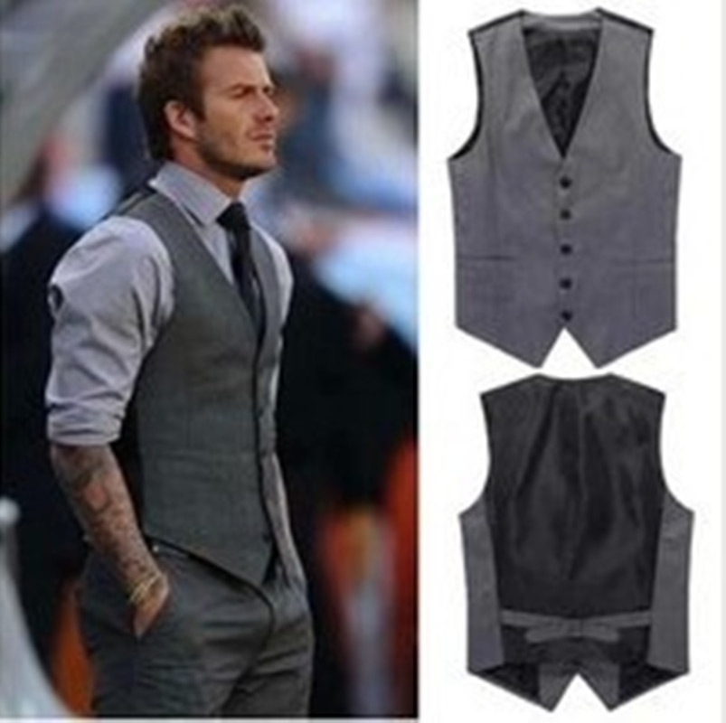 New Men Formal Clothes Men Slim Sleeveless Blazer Vests Men ...