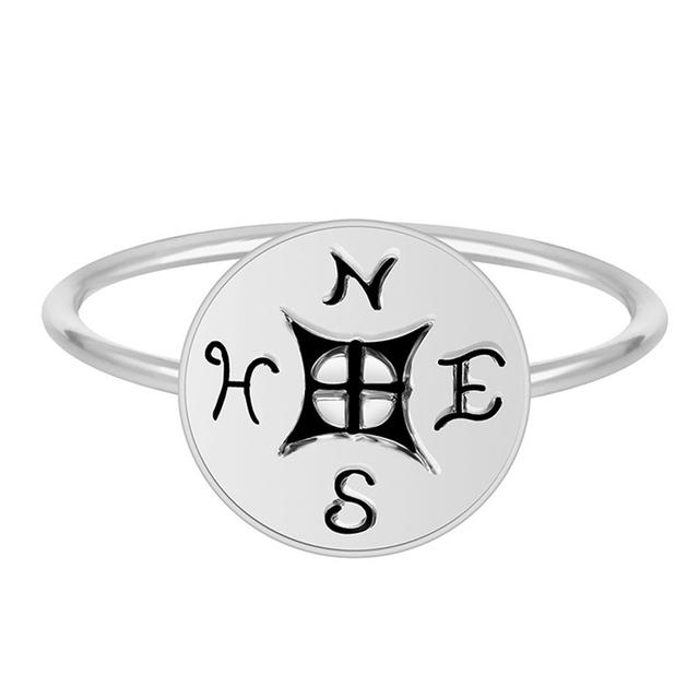 Bohemian Retro Compass Letter Ring Set