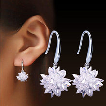2016 new arrival fashion ice flower 925 sterling silver ladies`drop earrings jewelry birthday gift promotion