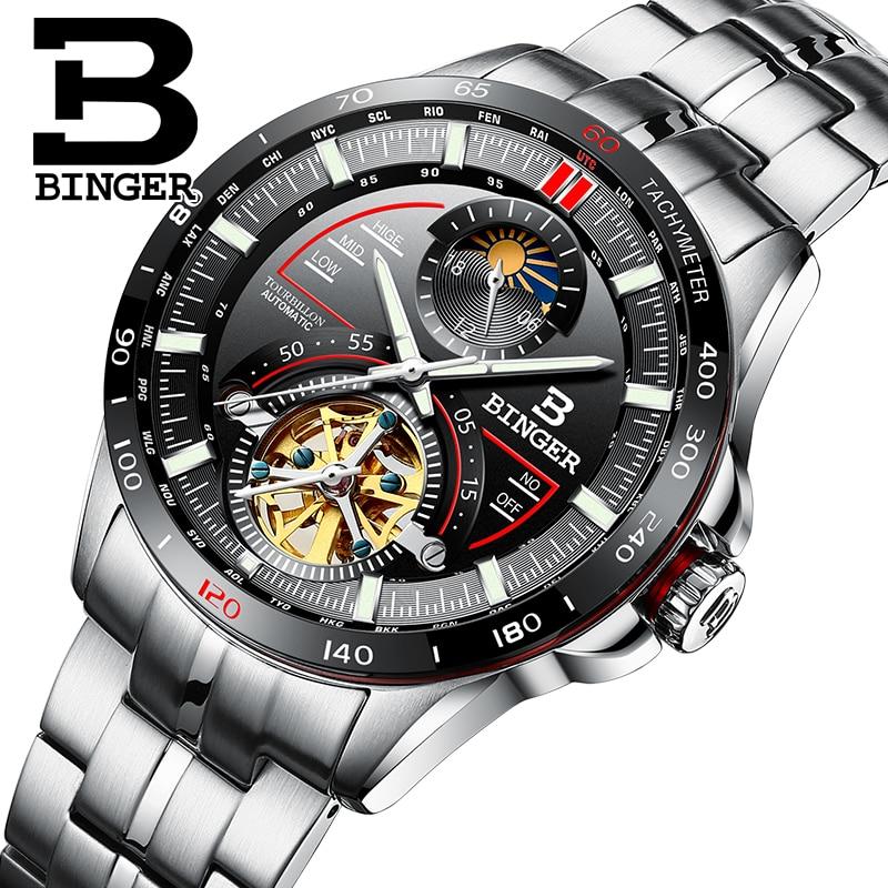 Switzerland BINGER Tourbillion Automatic Mechanical Skeleton Men's Watches Luxury Brand Watch Men Waterproof relogio masculino