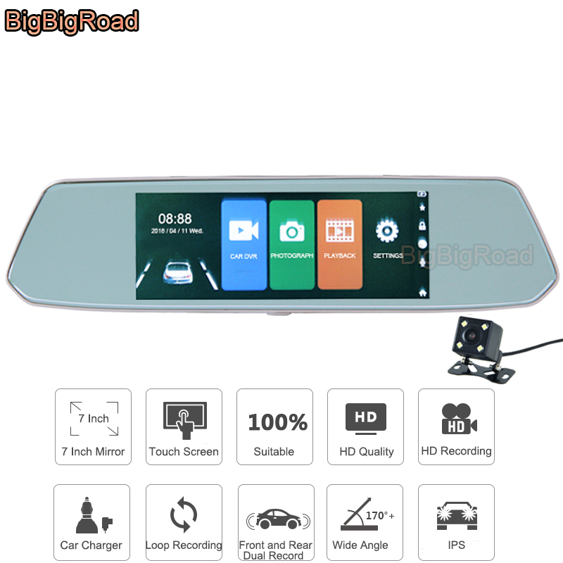 цена BigBigRoad For ssangyong kyron actyon rexton 2 korando rodius musso Car DVR 7 Inch Touch Screen Rear View Mirror Video Recorder