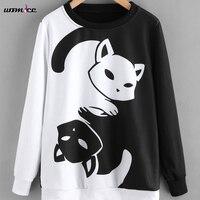 2017 Winter Cute Hoodies Women Pullover Sweatshirt Black And White Color Patchwork Cat Hoodies Female Sweatshirt