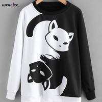 2018 Women Spring Fashion Hoodies Pullover Sweatshirt Cat Hoodies Black White Color Patchwork Sweatshirt Harajuku Female