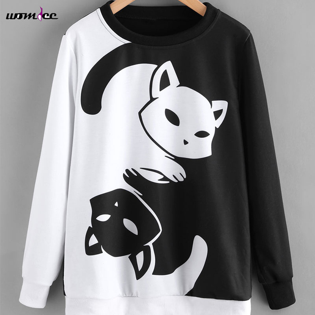 2018 Women Spring Fashion Hoodies Pullover Sweatshirt Cat Hoodies Black White Color Patchwork Sweatshirt Harajuku Female jumper