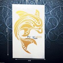 1PC Lovely Gold Fish Dolphin Whale Temporary Tattoo Waterproof Henna Sticker Women Body Art Flash Metallic Tattoo Stickers PGH29