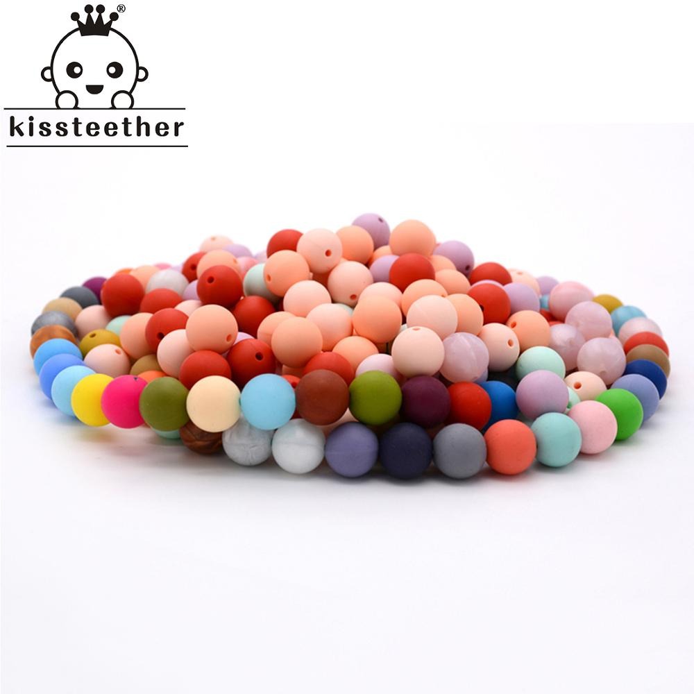 100pc Silicone Baby Teething Teether Beads 12mm Safe Food Grade Care Chew Round Silicone Beads Necklace