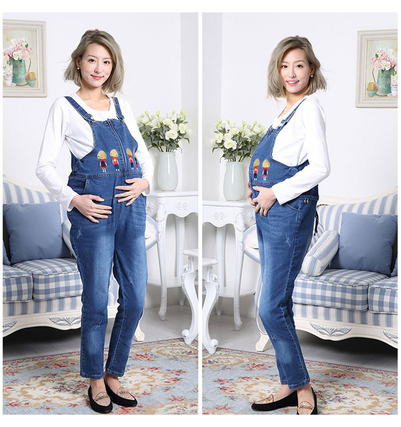 Maternity Jeans Jumpsuit Fashion Mushroom Baby Denim Overall for Pregnant Women Zipper Design Not Need to Take Off Go to Toilet aitesen tote leather bag luxury handbags women messenger bags designer sac a main mochila bolsa feminina kors louis bags