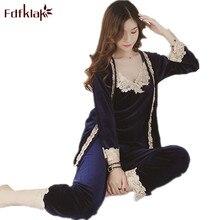 Fdfklak Ladies Pajamas Autumn Winter Pyjamas Women Three Pieces Sleepwear Sets Gold Velvet Pajama Set Women