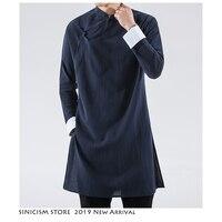 Sinicism Store Men Black Streetwearm Coat Men 2019 Mens Linen Jacket Long Coat Male Chinese Style Harujuku Wind Breaker
