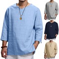 Feitong Men's T-shirts Summer New Pure Cotton And Hemp Top Comfortable Fashion Tee Top Poleras De Mujer Street Style