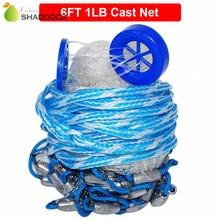 6 Feet Radius 1LB Fishing Cast Net American Heavy Duty Real Lead Weights Hand Throwing Trap Net With Plastic Bucket