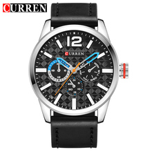 CURREN Black Silver Quartz Watch Blue Hands Week Month Display Lattice Dial Design Mens Watches Top Brand Luxury Male Clock
