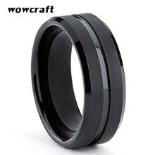 8mm Black Tungsten Carbide Ring Wedding Band for Men Women Grooved Center Brushed Finish Comfort Fit Engraving Free цены онлайн