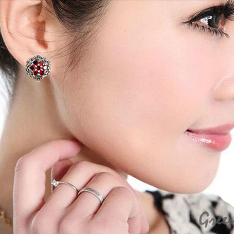 925 Sterling Silver Stud Earrings For Women Red Zircon Fashion Jewelry Best Gift For Mother/Girlfriend SLS30175 Free Shipping