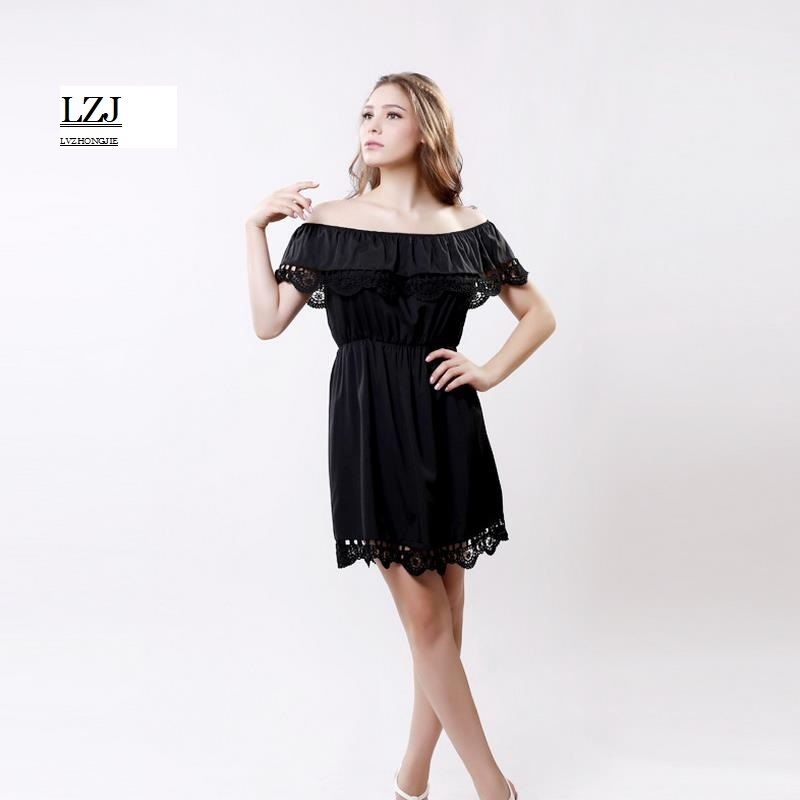 LZJ new sexy mini dress ladies summer clothing vestidos sexy lace collar lotus leaf leaking hook hollow side dress plus size L33