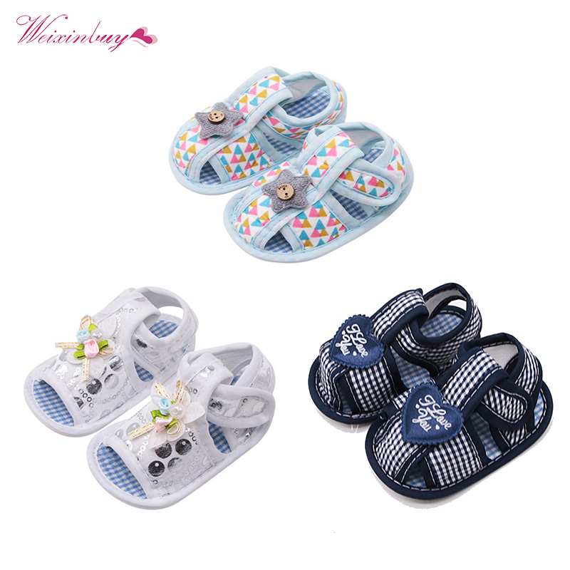 Summer Canvas Baby Shoes Baby Girl Hollow Plaid Soft-Soled Princess crib shoes Star heart floral insert prewalkers(China)