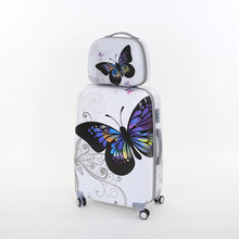 14 20inch(2 pieces/set)girl pc butterfly trolley luggage set,woman fashion boarding travel luggage bags set on universal wheels