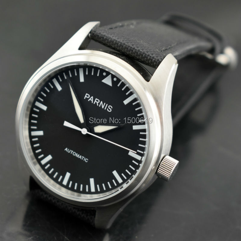 Parnis New 42mm Black Dial Luminous watch hands Stainless Steel Case black Fabric Canvas leather strap