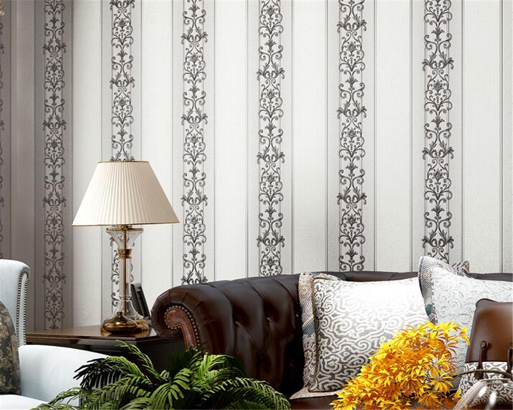Beibehang European vertical striped  waterproof embossed 3D wallpaper bedroom living room sofa background wall 3d wallpaper roll