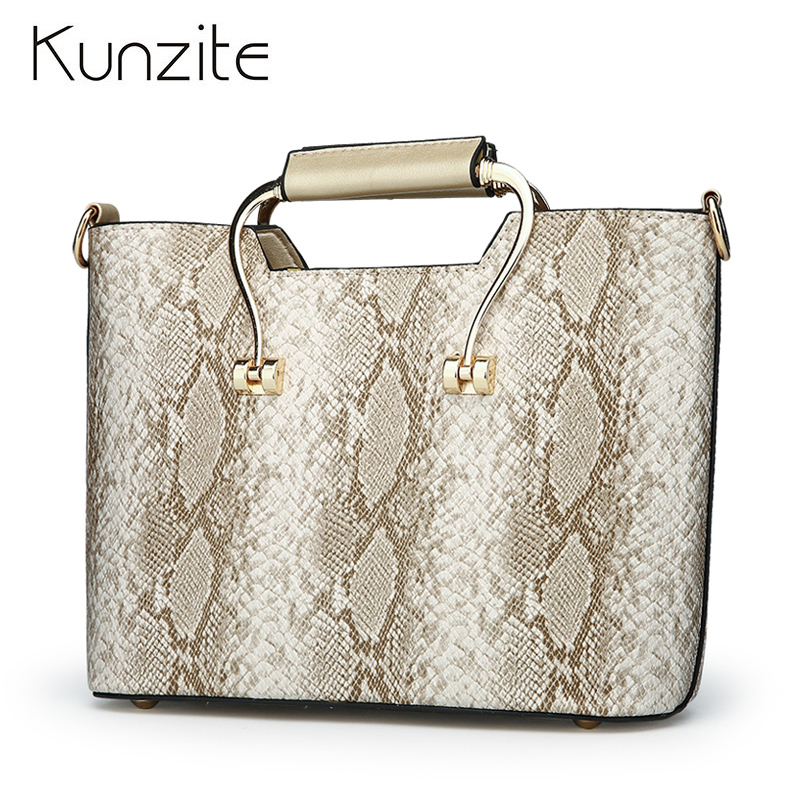 Kunzite New Arrival Serpentine Women Leather Handbags Fashion Office Bags Handbags Women Famous Brands Ladies Totes Sac a Main