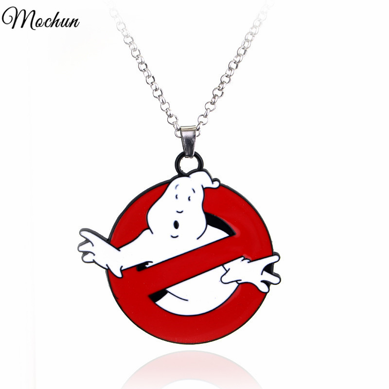 GHOSTBUSTERS LOGO NECKLACE Movie 80s Eighties Kitsch Vintage Ghost Bill Murray Gift For Fans Movie Jewelry image
