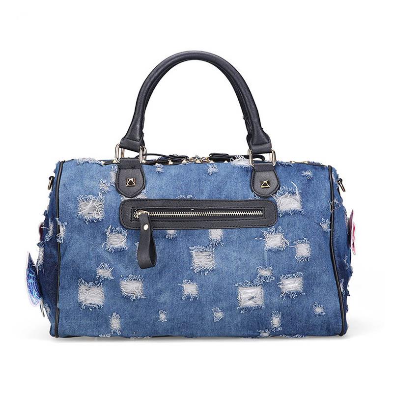 New  Women Luggage Travel Bags Cute Cartoon Daypack Denim Bags Handbags Fashion Shoulder Bag Female