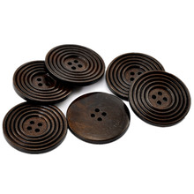 20Pcs Round Dark Coffee Stripe Wood Buttons 4 Holes Wooden Sewing Ornaments Scrapbook Making 38mm