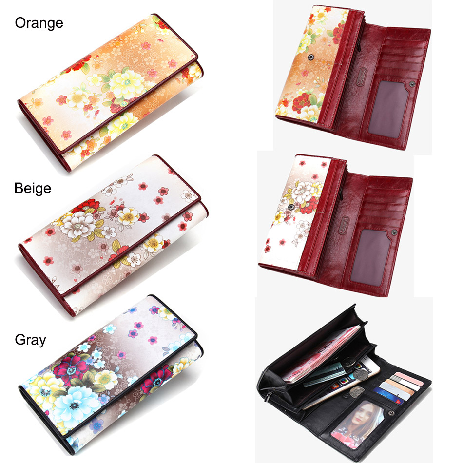CONTACT'S Genuine Leather Women Wallets Lady Purse Long Alligator Wallet Elegant Fashion Female Women Clutch With Card Holder 5