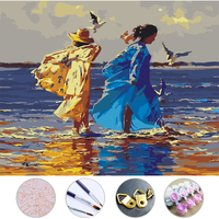 Beach Beauty Diy Oil Painting Frameless Picture On Wall Acrylic Painting By Numbers On The Canvas