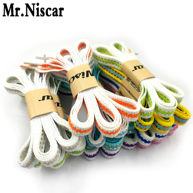 Mr.Niscar New Arrival 1 Pair High Quality Striped Shoelaces 115cm Width 1cm Silver Line Multicolor Stripe Shoe Laces Strings high quality 1 pair right