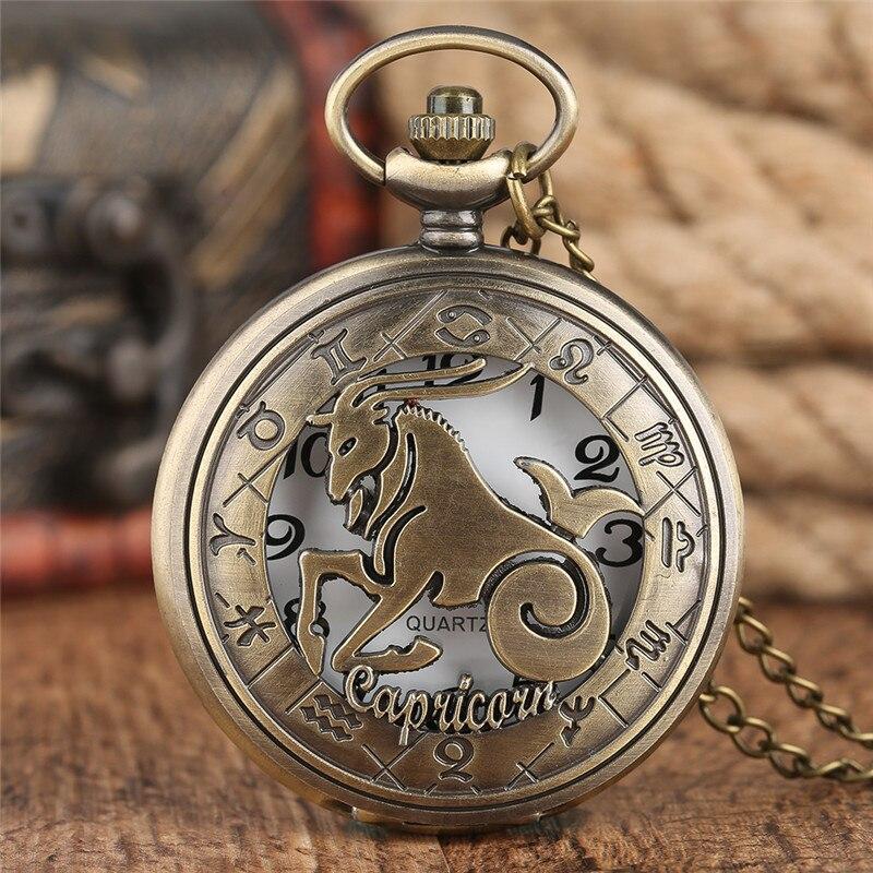 Twelve Constellation Capricorn Pocket Watch Hot Men Women Hollow Case Necklace Pendant Bronze Chain Half Hunter 2020 Watch Gift