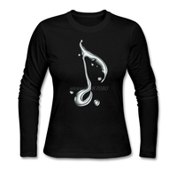 Full Sleeve T Shirts Water Music Notes For Woman Tshirt Tops Camisetas Youth Crewneck New Europe