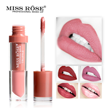 MISS ROSE Brand Nude Matte Lipstick Lips Moisturizer  Metal Color Liquid Lipstick Matte Lip Gloss Beauty Makeup Cosmetics