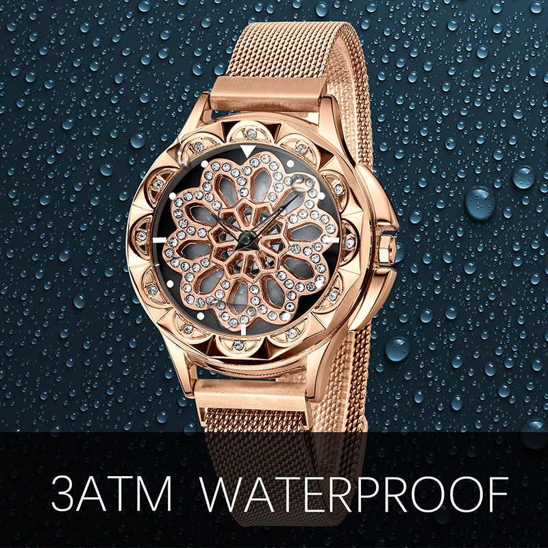 Civo senhoras de luxo relógio rotativo dial feminino casual relógio de quartzo malha cinta analógico à prova dwaterproof água vestido feminino relógio montre femme