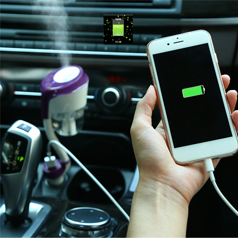 Car Humidifier with Charger 2 USD Mini Air Purifier Aromatherapy Machine Freshener 50ML Mist Maker Fogger Protect Eyes Skin