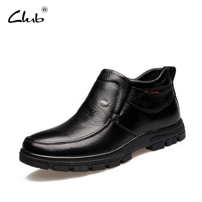 Club Genuine Leather Mens Black Boots Men Winter Snow Boots Warm Plush Leather Waterproof Rubber Men Ankle Boots Botas Hombre autumn warm plush winter shoes men zipper 100% genuine leather boots men thick bottom waterproof black high top ankle men boots