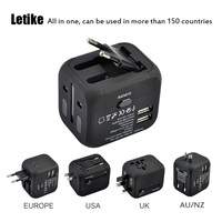 Letike International Travel Adapter All In One Universal Power Adapter With 2 4A Dual USB Wall
