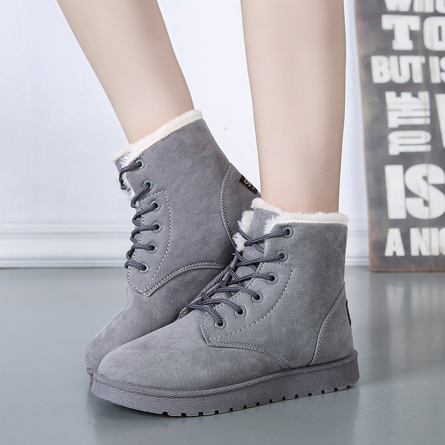 9755336382595 Womens Boots Winter Flat Suede Plush Slip On Ankle Boots Ladies Lace Up  Memory foam Warm Fur Shoes Women Black Brown Botas Mujer