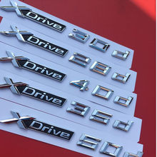 Adesivo emblema 3d abs sdrive 50d, 2 peças, estilo de carro, 20d 25d 28d 30d 35d 40d 45d 48d 50d para x3 e83 f25 x4 f26 x5 e70