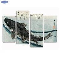 Katsushika Hokusai Fish Set Of 4 Diy Diamond Embroidery Diamond Painting Cross Stitch Full Square Diamond