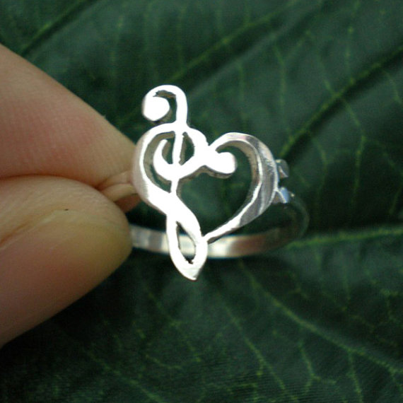 Music Note Love Heart Ring Música Profesor Agradecimiento Regalo Anillo Treble Clef Ring Bass clef Ring Presents Valentin Day YLQ0465