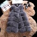 New Winter Warm Luxury Women Elegant Coat Soft Fur Vest Jacket Faux Fur Coat Fox Fur Long Vest Prom Party Coat Plus Size S-5XL