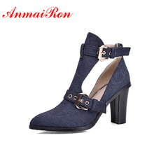 ANMAIRON Ankle Boots Denim Boots Women Pointed Toe Buckle High Boots New Summer Boots Platform Fashion Shoes Women Big Size