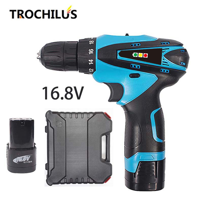 16.8V Cordless Screwdriver Multifunctional Electric Tool Rechargeable Screwdriver with Lithium Battery * 2 Household Toolbox makita 18v lithium battery series tool cordless impact screwdriver 3000ipm 2300rpm