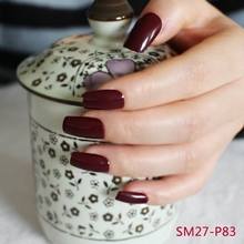 24pcs Hot sell fashion Long section Square head candy false nails decoration Deep burgundy M P83